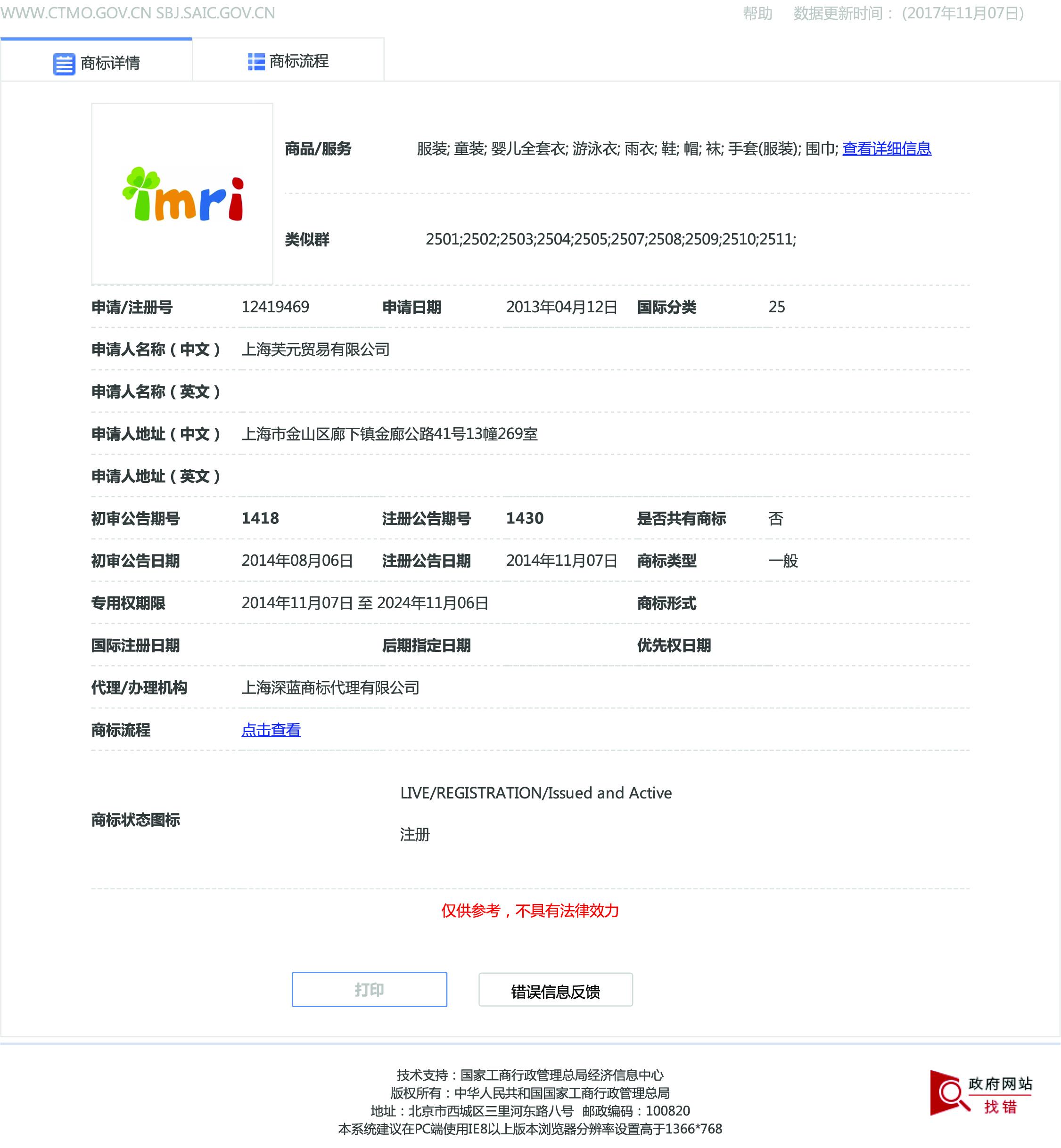 上海商标注册公告第12419469号,服饰商标注册公告
